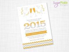 New Year's Eve Party Invitation, Holiday Party Invitation, New Years Eve Invitation, Party Invites,