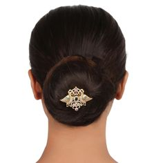 Zircon Hair Brooch 55970RG #Kushals #Jewellery #Fashion #Indian #Jewellery #HairBroochs #WeddingAccessories #Zircon #Festive
