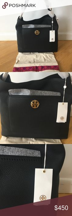"NWT Tory Burch Authentic Chelsea Chain Hobo NWT Tory Burch Authentic Chelsea Chain Hobo in black. A modern classic: the Chelsea Chain Hobo. Made of pebbled leather, the slouchy style has an antiqued brass logo and an exterior pocket to keep belongings within reach. It's the perfect refined finish to work or weekend looks.  Holds a 7"" tablet, a continental wallet, a small makeup bag, sunglasses and an iPhone 6 Plus Leather-and-chain strap 1 exterior pocket 1 interior slit pocket 1 zipper…"