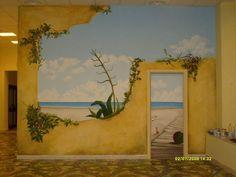 Trompe l'œil Beach Scene Wall