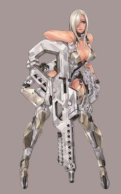 ArtStation - anti-armor Rifle DU bullets Ren Wei Pan Kumiko GC gun girl and othera blaze project 2 and 6 Female Character Design, Character Design Inspiration, Character Concept, Character Art, Concept Art, Fantasy Women, Fantasy Girl, Akali League Of Legends, Cyberpunk Art