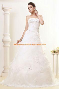 Schicke trägerlose A-linie Brautkleider aus Organza mit Blumen