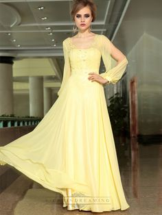 A-line Sheer Long Split Sleeve Yellow Floor Length Formal Dresses
