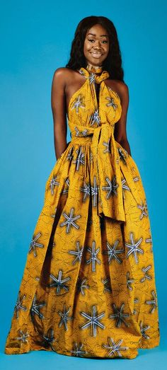 Maxi INFINITY in yellow * end of year clearance*. African print infinity dress. Can be worn more than 6 different ways. 2 side pockets. Made with 100% cotton high quality African print wax fabric.   Ankara | Dutch wax | Kente | Kitenge | Dashiki | African print dress | African fashion | African women dresses | African prints | Nigerian style | Ghanaian fashion | Senegal fashion | Kenya fashion | Nigerian fashion (affiliate)