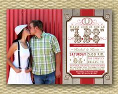 "Rustic Country ""I Do"" Photo BBQ Bridal Shower, Wedding, Engagement Party or Birthday Invitation - Any Color Scheme. $18.00, via Etsy."