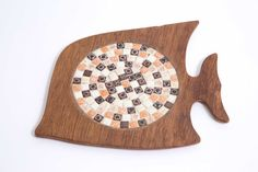 Vintage Trivet Mid Century Wood and Tile Angelfish by 4PDX on Etsy