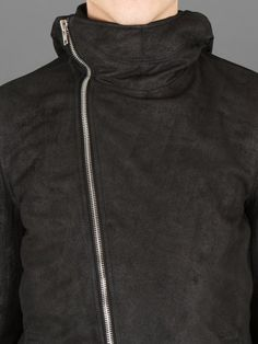 RICK OWENS BULLET JACKET IN BLISTERED LEATHER WITH TWO SNAP POCKETS