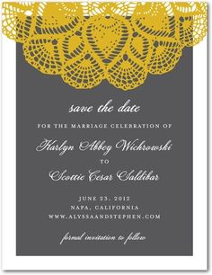 yellow + grey save the dates