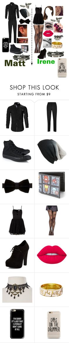 """""""Going to the dance"""" by irene-palma-1 on Polyvore featuring Topman, Converse, BP., Duchamp, Marvel, Lipsy, New Look, BHCosmetics, Lime Crime and Kate Spade"""