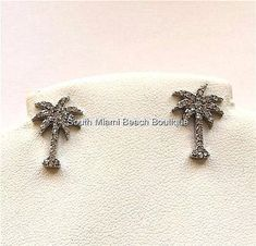 Silver Plated Crystal Palm Tree Earrings Pierced Tropical Island Beach Life USA  #FRESHCollection #Stick