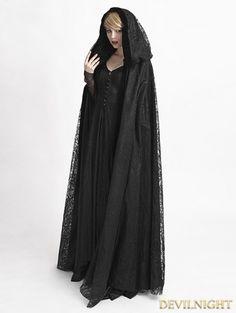 Black Gothic Long hooded Cape for Women - Devilnight.co.uk