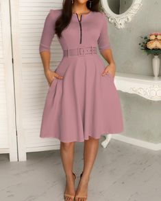 Solid Zipper Up Belted Pleated Casual Dress buying fashion dresses & rapid delivery. Elegant Dresses, Casual Dresses For Women, Sexy Dresses, Fashion Dresses, Dresses For Work, Clothes For Women, Summer Dresses, Formal Dresses, Fashion Wigs