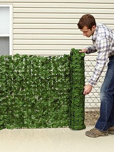 Use for privacy in your yard, hide unsightly views, or simply to enhance the look of your property! It features a realistic fade-resistant polyester ivy look and attaches Diy Privacy Fence, Patio Fence, Cement Patio, Fence Landscaping, Landscaping With Rocks, Patio Design, Garden Design, Outdoor Living, Outdoor Decor