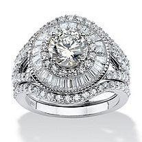 4.74 TCW CZ .925 Sterling Silver 3-Piece Bridal Ring Set