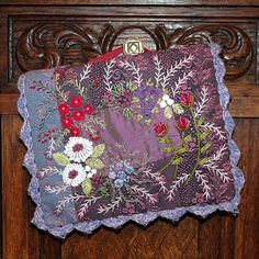 Gipsy Quilt Boxes and Packs and Bags Floral Embroidery Patterns, Silk Ribbon Embroidery, Embroidery Stitches, Hand Embroidery, Quilt Patterns, Crazy Quilt Stitches, Crazy Quilting, Purple Quilts, Fibre And Fabric
