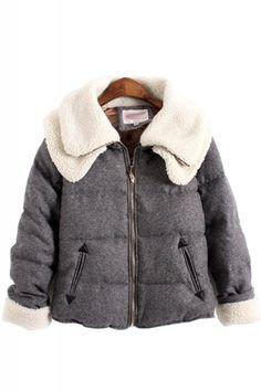 Love the DOUBLE Collar Design! Super Cozy! Cozy Grey Double Collar Long Sleeve Cotton Winter Fleece Jacket #Unique #Fashion #Design #Double #Collar #Winter #Jacket