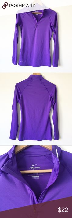 Nike Pro Women's Dri-Fit Fitted Running Half Zip Great Condition!! Like new! Very Pretty purple Dri-Fit Material. Thumb hole sleeves. Size small. Nike  Other