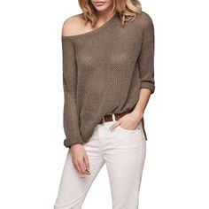 Gerard Darel Flow Jumper (€84) ❤ liked on Polyvore featuring tops, sweaters, layered sweater, long sleeve v neck sweater, extra long sleeve sweater, long sleeve sweater and brown sweater