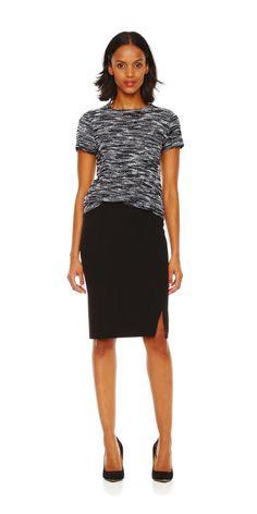 Slit Pencil Skirt in Black, and black & white knit tee from Joe Fresh