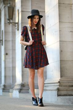 MONTREAL IN STYLE Plaid Frock with peterman collar and puffy sleeves . PRETTY