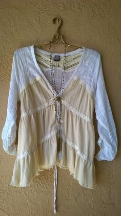 Image of Free People cotton peasant blouse with lace trim...rare past collection