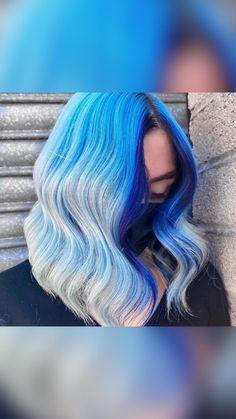 Short Blue Hair, Blue Ombre Hair, Mint Hair, Hair Color Purple, Hair Dye Colors, Cool Hair Color, Green Hair, Blue Tips Hair, Unicorn Hair Color