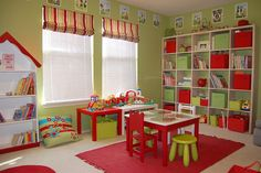 Complementary Color Schemes - Red and Green Playroom