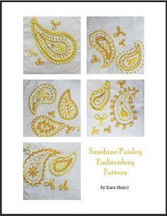 Sunshine paisley embroidery pattern PDF