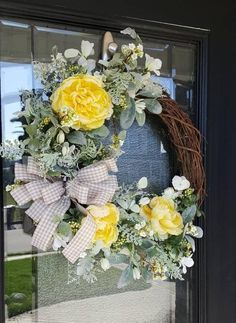 Everyday Yellow Peony and Lamb's Ear Wreath, Spring and Summer Wreath, Favorite Wreath, Decor for Porch - Moyiki Sites Greenery Wreath, Grapevine Wreath, Wreaths, Poppy Wreath, Yellow Peonies, Magnolia Wreath, Lambs Ear, Summer Wreath, Porch Decorating