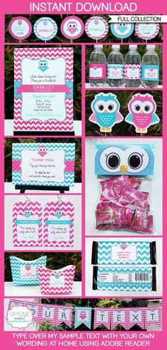 Owl Birthday Party - INSTANT DOWNLOAD full Birthday Printable Collection + Invitation - EDITABLE text that you personalize with Adobe Reader