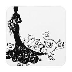 #Floral Pattern Wedding Bride Silhouette Coaster - #WeddingCoasters #Wedding #Coasters Wedding Coasters