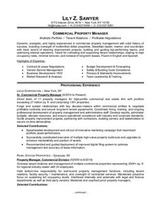 Property Manager Resume Sample   Pinteres