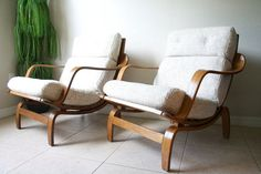 Mid Century Bentwood Lounge Chairs by by RetroTherapyRehab on Etsy, $1100.00