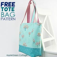 Tote Bag Pattern - Free Tote Pattern In 2 Sizes - AppleGreen Cottage, Diy Abschnitt, Best Tote Bags, Diy Tote Bag, Small Tote Bags, Reusable Tote Bags, Cute Tote Bags, Bag Pattern Free, Tote Pattern, Bag Patterns To Sew, Sewing Patterns