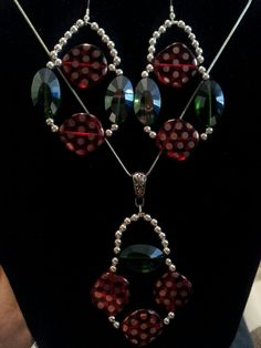 Green and red handmade beaded earrings and necklace