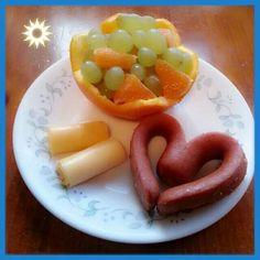 Corazón y frutas