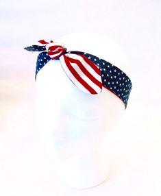 USA Headband, 4th of July Headband, Team USA, Dolly Bow, Retro headband, Red, White and Blue, Headband, Hair Tie Accessory by SewBirdiful on Etsy