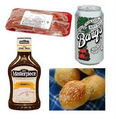 Super Easy Crockpot dinner.  1lb pork tenderloin, 1 Can of Root Beer, 1 bottle of BBQ Sauce, hamburger buns.  Done!