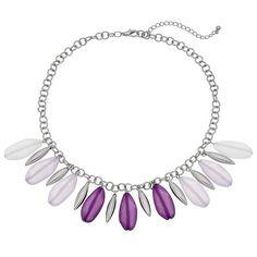 Purple Shaky Bead Ombre Fringe Necklace, Women's, Lt Purple