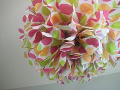 Hot Dots  1 Large Tissue Paper Pom Pom Flower  by prosttothehost
