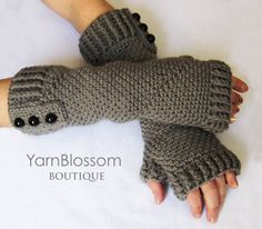 CROCHET PATTERN Fingerless Gloves (Sizes Adult Small to X-Large) Instant Download by YarnBlossomBoutique on Etsy