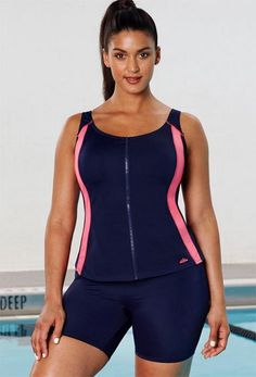 837f8c0d8cacb Swimsuits not your thing  This neoprene-like zip-up bathing suit tank with