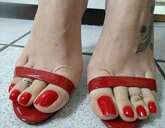 Image may contain: shoes Pretty Toe Nails, Sexy Nails, Sexy Toes, Pretty Toes, Red Toenails, Long Toenails, Sexy Sandals, Bare Foot Sandals, Sexy Zehen