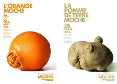 5 fruits et légumes moches par jour !   Voici une campagne de publicité pleine d'humour pour lutter contre le gaspillage alimentaire !   http://www.grapheine.com/divers/campagne-pub-legumes-moches