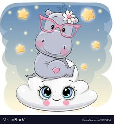 Cute Hippo a on the Cloud. Cute Cartoon Hippo is sitting a on the Cloud royalty free illustration Cartoon Hippo, Cute Cartoon Animals, Girl Cartoon, Baby Animals, Cute Animals, Cute Hippo, Baby Hippo, Cute Images, Cute Pictures