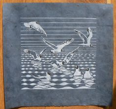 Black headed Gulls linocut print by StripedPebble on Etsy