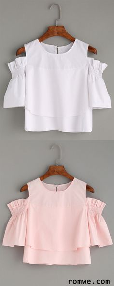 Cute Top - Ruffled Open Shoulder Blouse