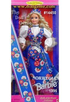 From the land of the midnight sun comes a doll that can light up the night: meet Norwegian Barbie doll. This Collector Edition doll wears a traditional, lace trimmed, blue jumper dress called a bunad. Her crisp, white blouse, trimmed in blue around the collar, features beautiful pouffed sleeves. She has a matching square cap and an adorable printed purse with a silvery top and cord. She even wears a traditional Norwegian silvery coin necklace. Of course this international beauty sports long…