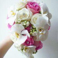 Orchidea menyasszonyi csokor pink rózsával Pink, Wedding, Casamento, Weddings, Pink Hair, Marriage, Mariage