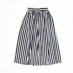 Girls Navy Striped Maxi Skirt